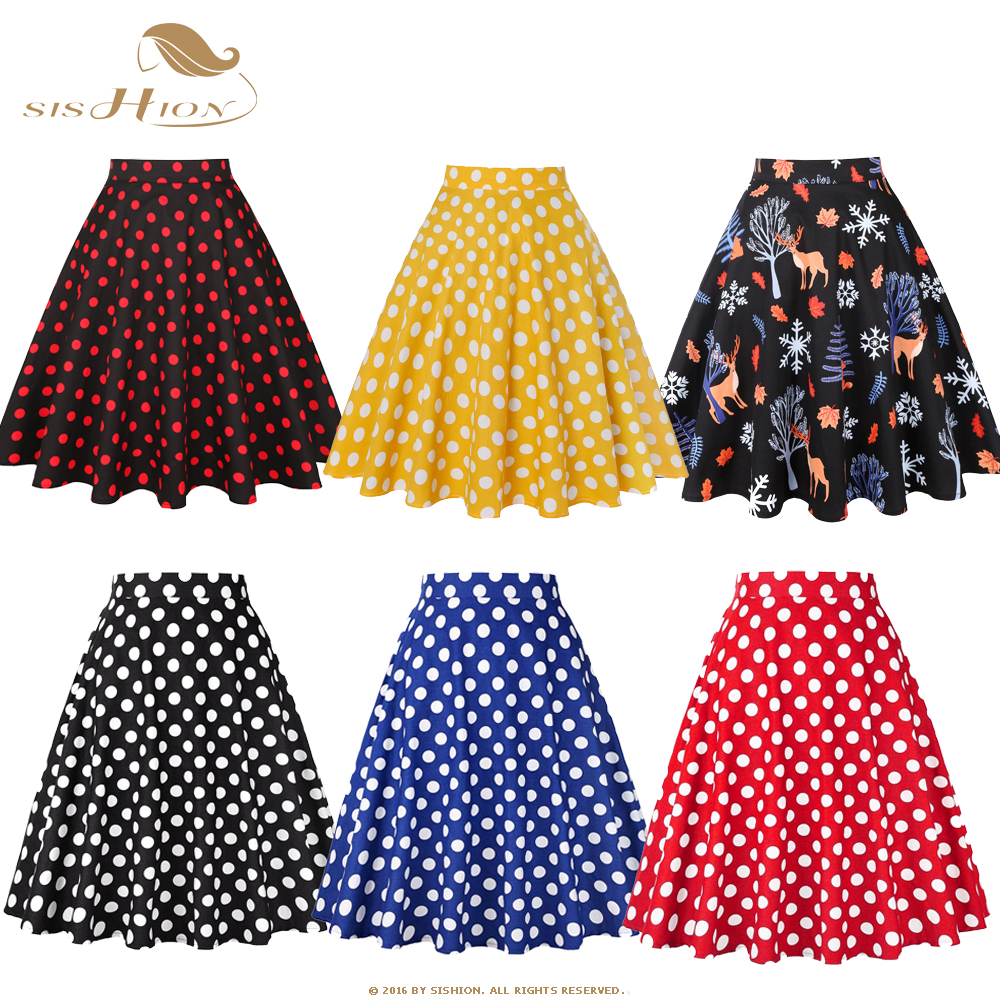 SISHION Women Midi Skirt Runway Vintage Rockabilly VD0020 Womens Pinup 50s Cotton Skirts High Waist Polka Dots Red Black Skirt