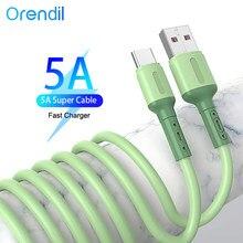 Orendil жидкий силикон 5А супер быстрый зарядный кабель типа C USB кабель для Huawei P40, зарядный провод кабель для передачи данных для Samsung Xiaomi