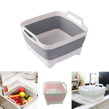Silicone Washable Vegetable Fruit Basket Foldable Portable Camping Fishing Kitchen Cleaning Tools Storage