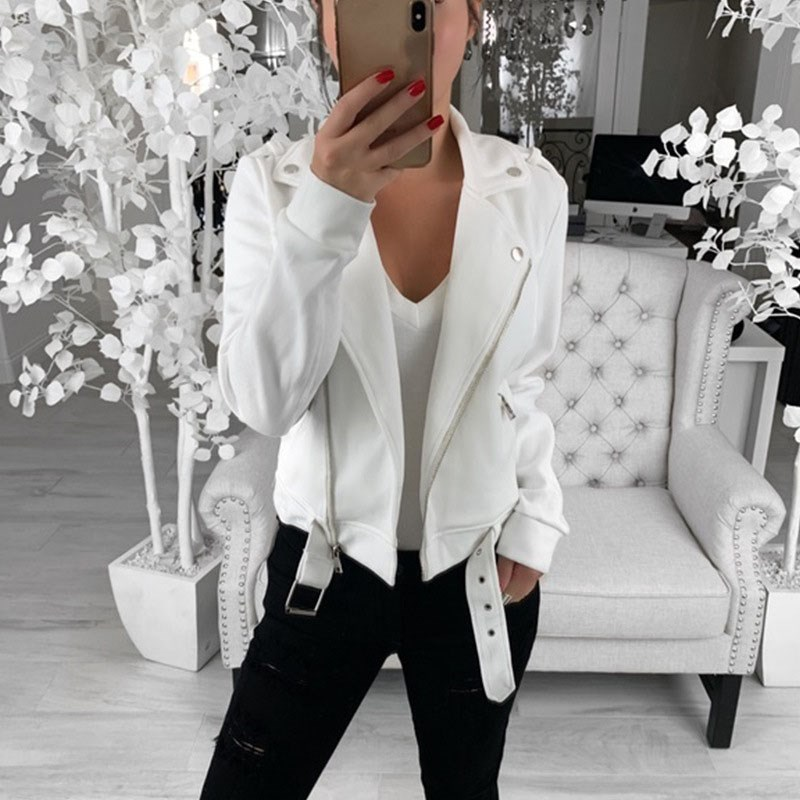 Women Black Slim Cool   Jackets   Female Plus Size Casual Coats Outwear Turn-Down Collar Long Sleeve   Basic     Jackets   Streetwear
