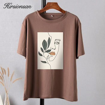 Hirsionsan Gothic Graphic T Shirt Women 2021 Summer New Oversized Cotton Tees Casual Aesthetic Character Printed O Neck Tops 1
