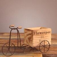 Drewniany trójkołowy Model doniczka z kutego żelaza rower stojak na kwiaty kryty stojak do przechowywania domu ogród dekoracja na biurko rzemiosło prezenty w Tace do garnków od Dom i ogród na
