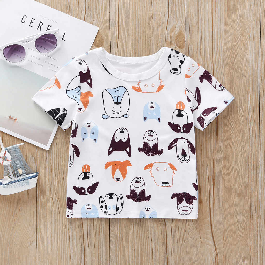 เด็กวัยหัดเดินเด็กเสื้อยืดเสื้อผ้าเด็กสาวเด็กแขนสั้นการ์ตูนสุนัขพิมพ์เสื้อ koszulka สบาย first birthday boy เสื้อผ้า