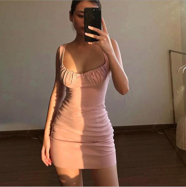 Summer Sexy Dresses Bow knot pleated sling U-neck Backless Cross Bandage Bodycon Party Dress Pleated Stretch Short Club Dress 4