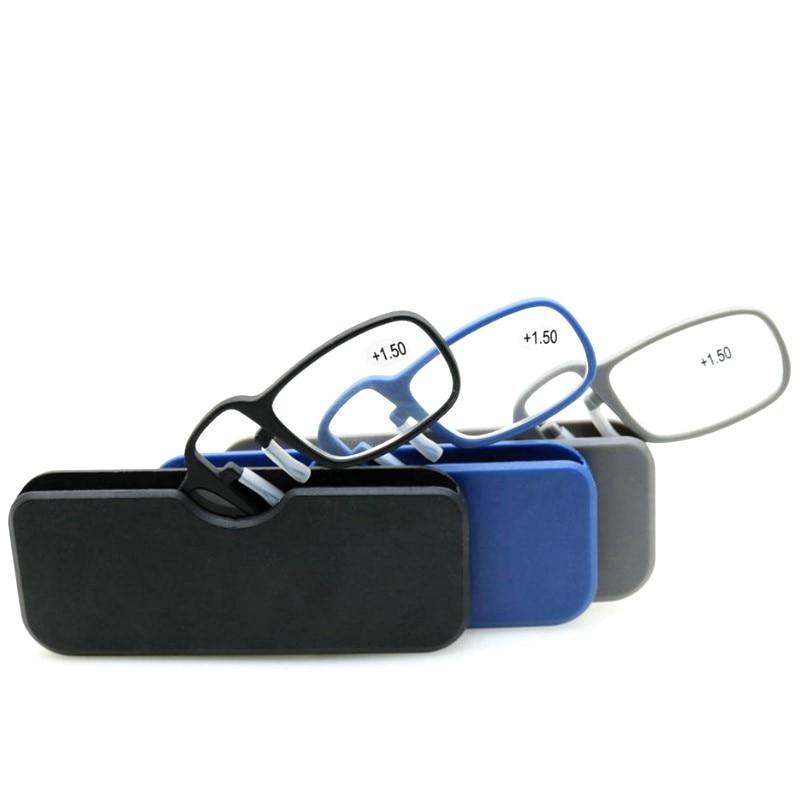 New Mini Portable Reading Glasses Nose Clip High Quality Men Women Tr90 Plastic Presbyopic Glasses With Case 2.5 1.5 3.0 Black