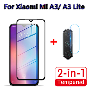 Image 1 - 2 in 1 Full Cover Tempered Glass For Xiaomi Mi A3 Lite Back Camera Lens Screen Protector Glass For Xiaomi Mi A3 Camera Lens Film