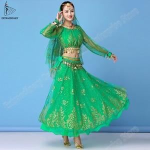 Image 3 - Женский костюм для танца живота, шифоновый топ + пояс + юбка