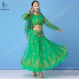 Image 3 - Bollywood Kleid Kostüm Frauen Set Indischen Tanz Sari Bauchtanz Outfit Leistung Kleidung Chiffon Top + Gürtel + Rock