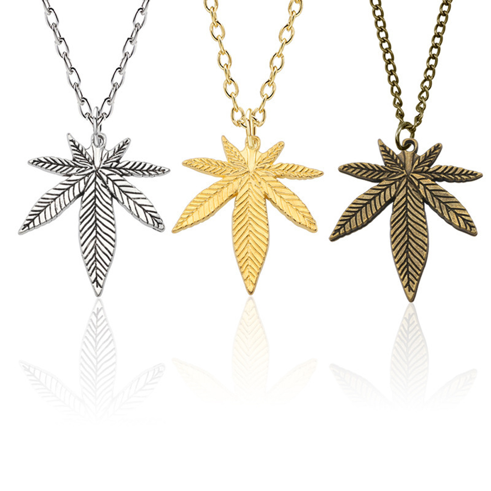 Fashion Maple Leaf Necklace Hemp Leaf Pendant Charm Golden Long Chain Necklace For Women Men Gifts Jewelry Accessories