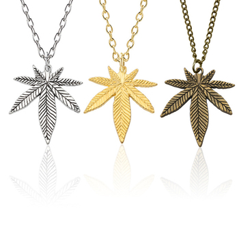 цена на Fashion Maple Leaf Necklace Hemp Leaf Pendant Charm Golden Long Chain Necklace For Women Men Gifts Jewelry Accessories