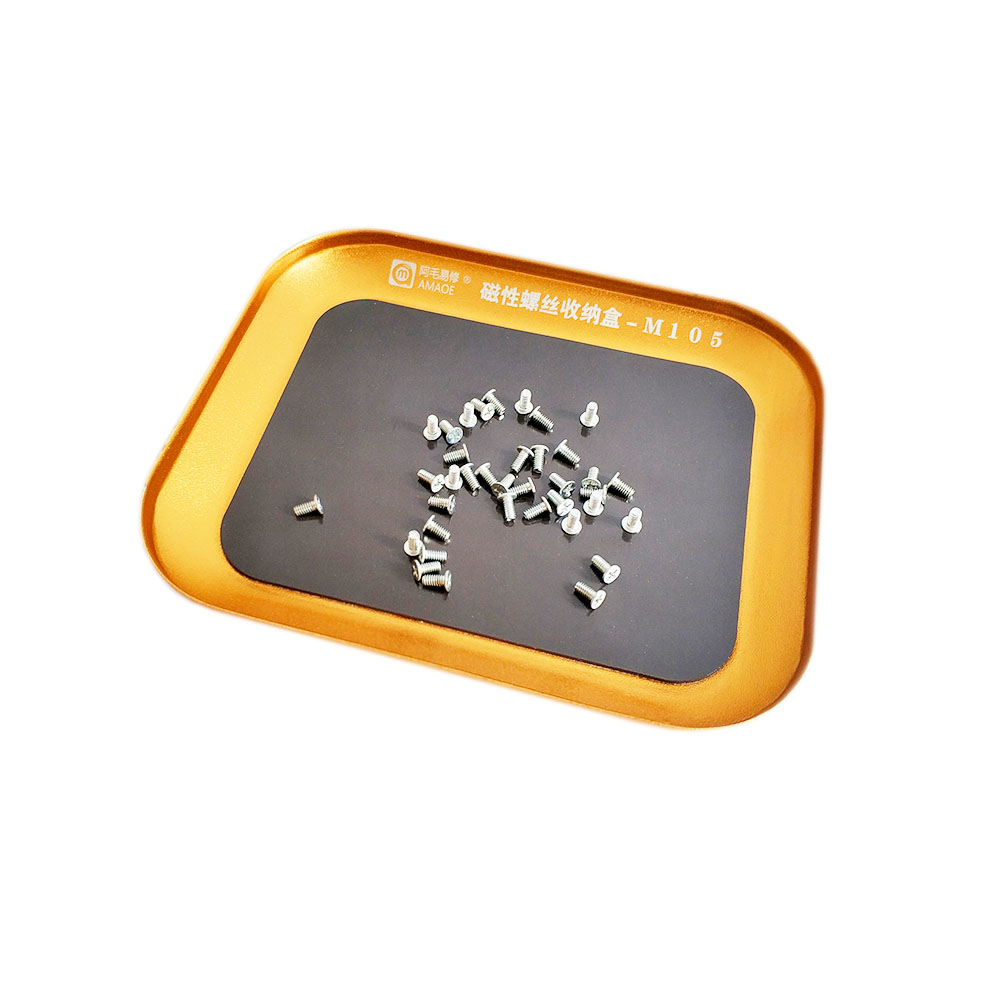 Bandeja magn/ética para tornillos de aleaci/ón de aluminio con piezas magn/éticas plateado