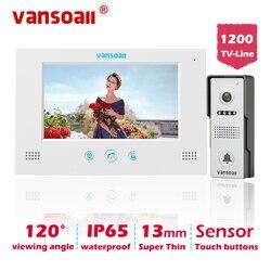 VANSOALL Video puerta teléfono timbre cableado Video intercomunicador sistema 7 pulgadas Monitor de Color y cámara HD con liberación de puerta, botón táctil