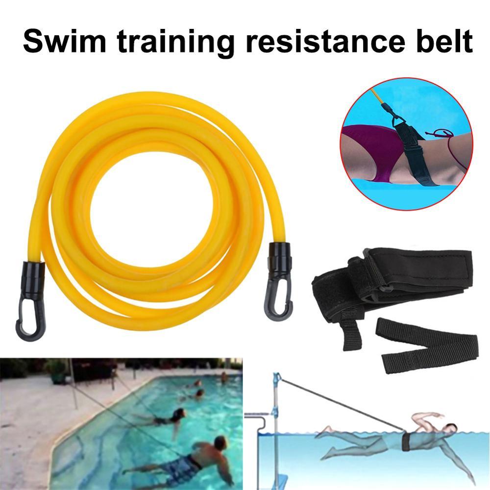 Adjustable Swim Training Resistance Belt Adult Kids Swimming Bungee Exerciser Leash Mesh Pocket Safety Swimming Pool Accessories