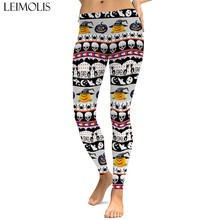 LEIMOLIS sexy gothic Pumpkin Halloween print push up leggings plus size women fitness workout punk high waist spandex leggins