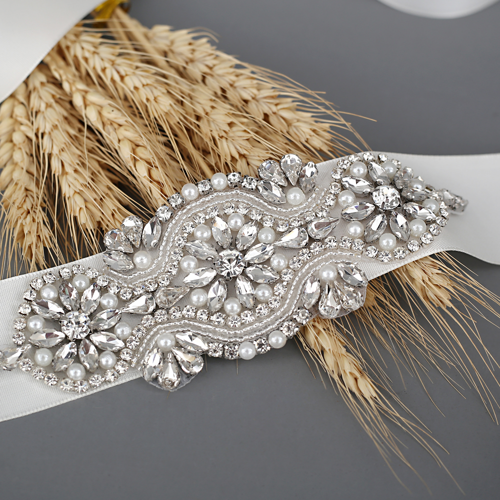 TRiXY S05 Stunning Wedding Belt Rhinestone Belt Bridal Belt Sashes Evening Dress Belt Sashes Silver Belts For Women Pearl Sash