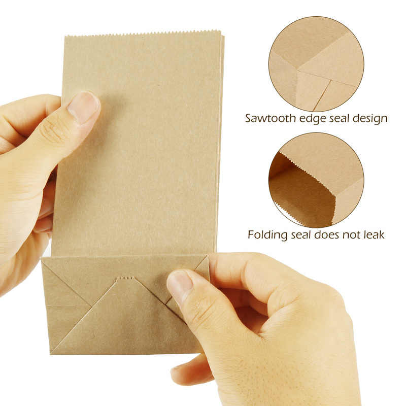 50pcs Kraft Paper Bags Food Tea Small Gift Bag Sandwich Bread Bags Party Wedding Supplies Wrapping Gift Takeout Eco-friendly Bag