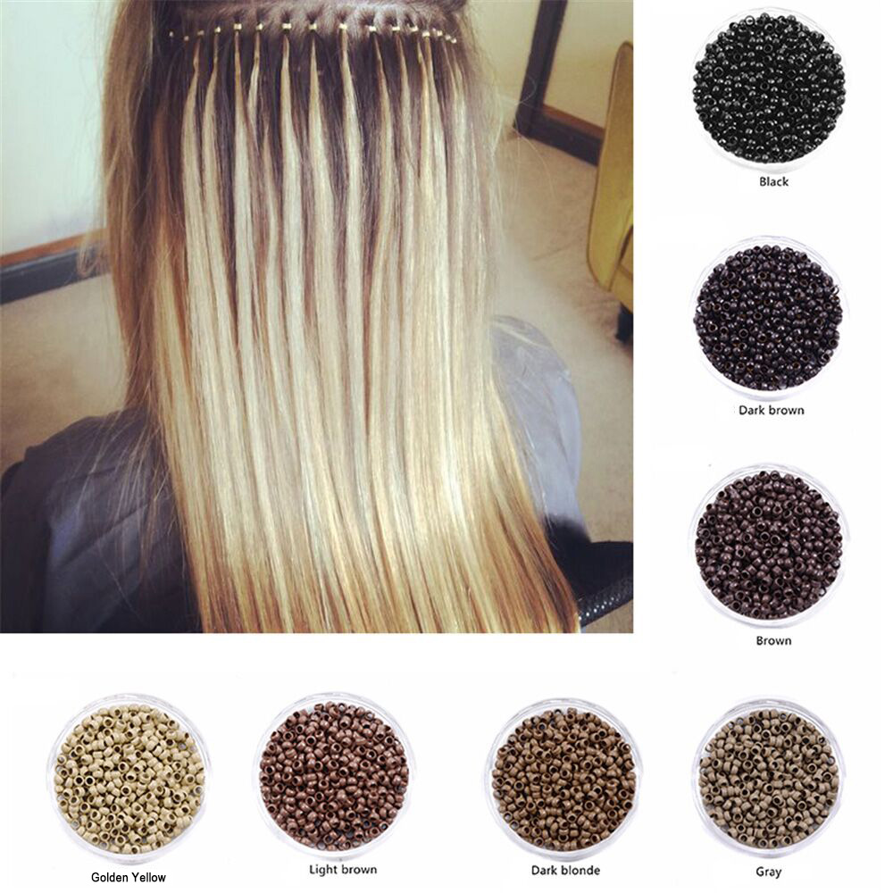 1000Pcs/Bottle Micro Nano Rings 2.5mm Links Beads Silicone Material Fit For Hair Extensions New Burr-free