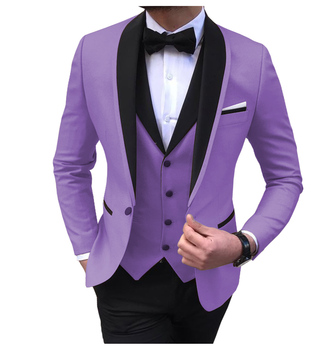 Blue Slit Mens Suits 3 Piece Black Shawl Lapel Casual Tuxedos for Wedding Groomsmen Suits Men 2020 (Blazer+Vest+Pant) 22