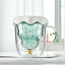 300ML High Borosilicate Christmas Tree Double Glass Cup Girl Cute Creative Insulation Anti-hot Wishing Home Breakfast Cups