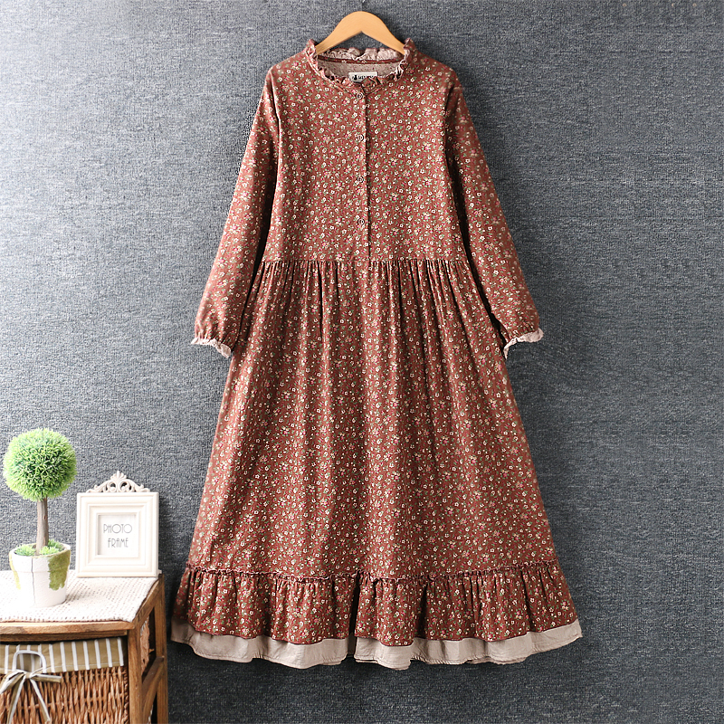 Lamtrip rustic flowers print ruffled collar cotton long sleeve dress