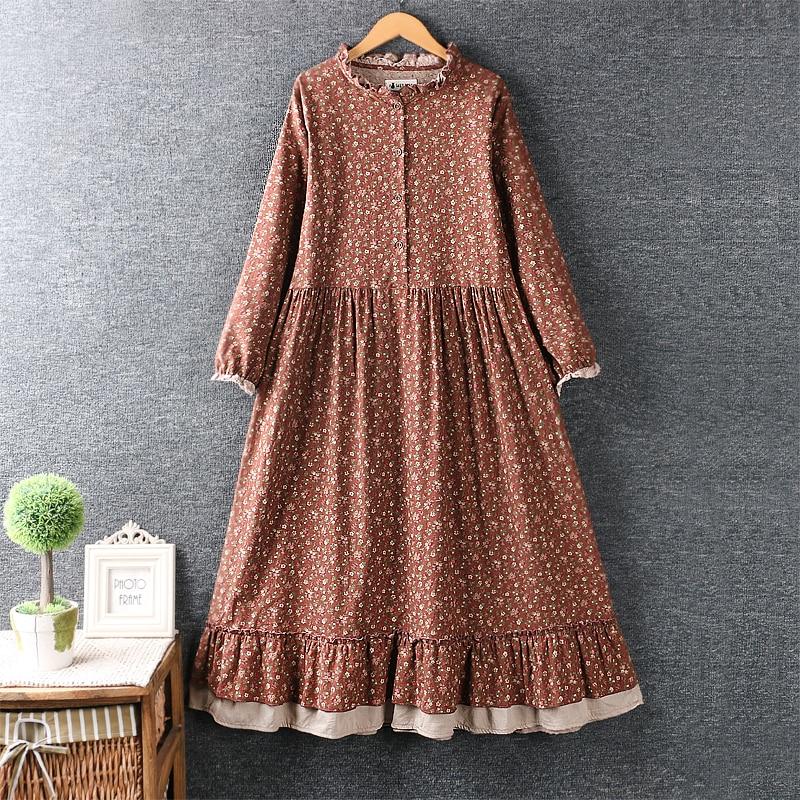 Lamtrip rustic flowers print ruffled collar cotton long sleeve dress
