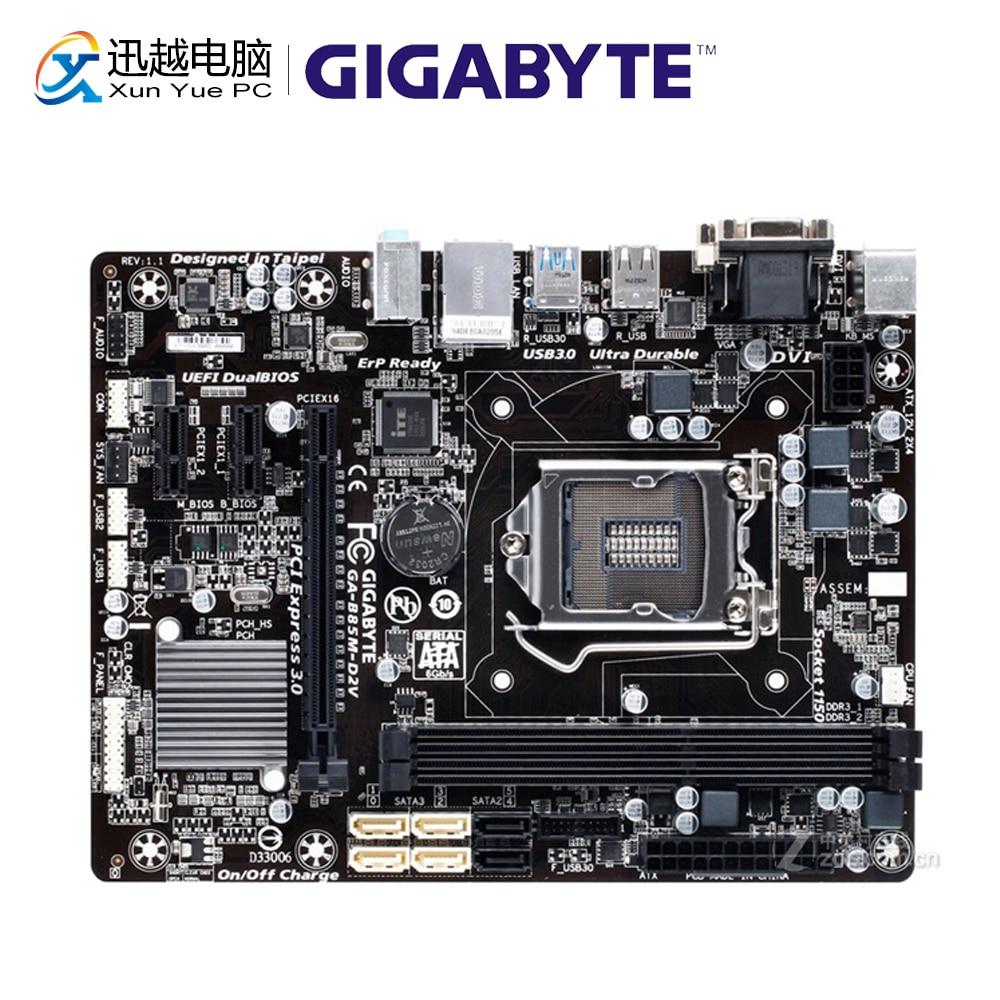 Gigabyte GA-B85M-D2V Desktop Motherboard B85M-D2V B85 LGA 1150 Core i7 i5 i3 DDR3 16G SATA3 USB 3,0 VGA DVI micro-ATX