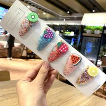 Ins Hot Fruit PVC Baby Hair Clips Cute Colourful Sequin Princess Hairpins For Girls Newborn Childern Kids Accessories