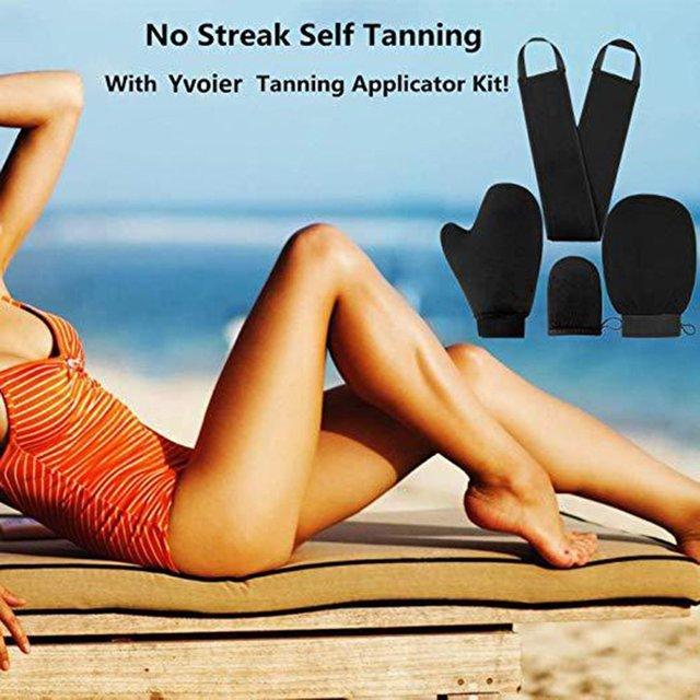 4pcs Shower Scrub Mitt Magic Peel Glove Exfoliating Tan Removal Mitt Self Tanner Body Cleaning Cream Mousse Self Tan Applicator 2