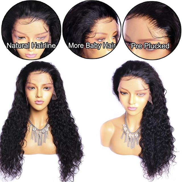 26 pulgadas 4x4 pelucas de cierre de onda de agua pelucas malasias Pre desplumadas con pelo de bebé Remy frente humano pelucas de pelo para mujeres negras