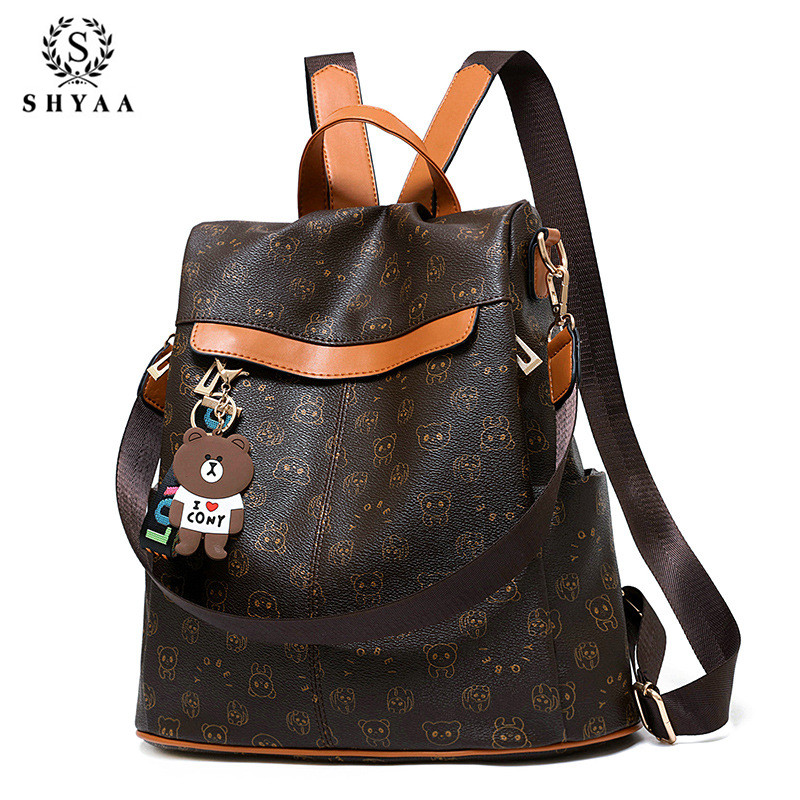SHYAA Brand Fashion Travel Bag Tide Wild Anti-theft Ladies School Bag Casual Pu Soft Leather Personality Large Capacity Backpack