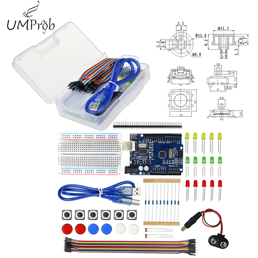 Starter Kit UNO R3 mini Breadboard LED jumper draht taste für arduino compatile