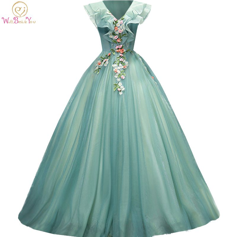 Green Prom Dresses 2020 Sleeveless V Neck Long Ball Gown Party Formal Gowns Floral Evening Graduation Dress Walk Beside You