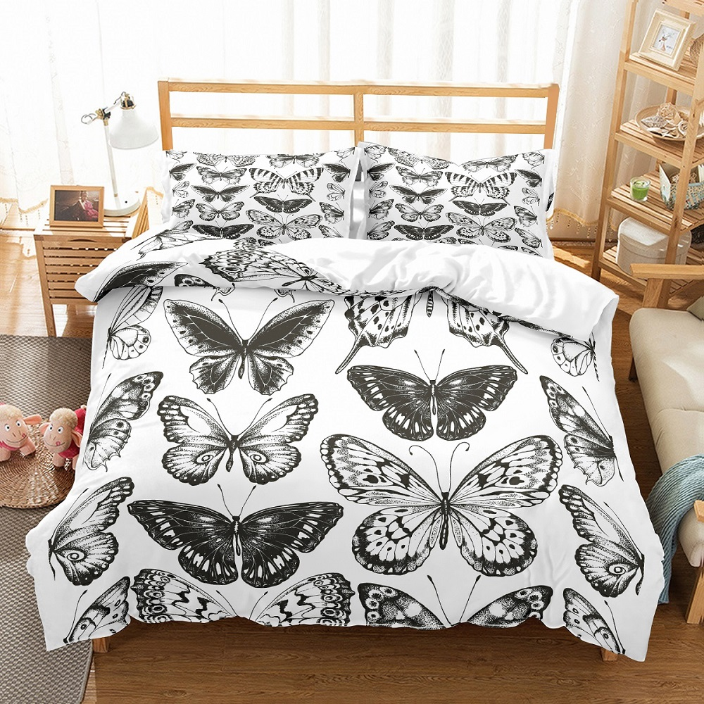 black white butterfly bedding sets duvet cover set 2 3 piece animals bedding set single double for teen quilt cover bed sets
