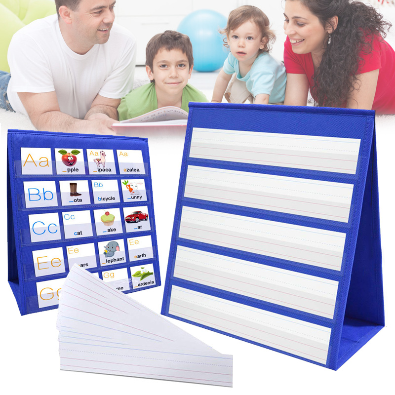 Desktop Pocket Chart Teaching Double-sided Self-standing Foladble For Classroom