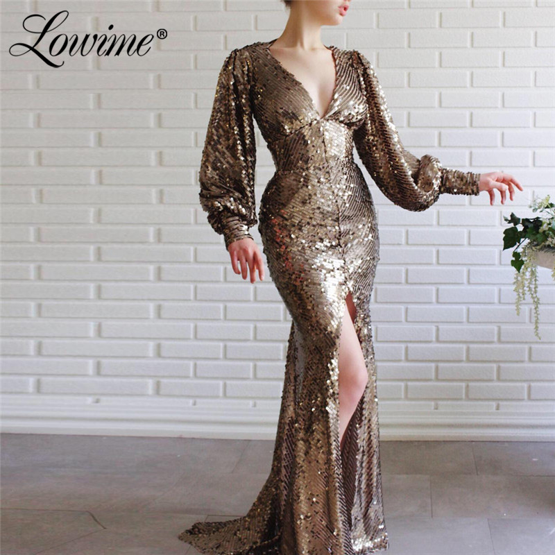 Sequins Front Split Party Dress V Neck Evening Dresses Mermaid Long Sleeves Open Back Prom Gowns Vestidos De Fiesta De Noche