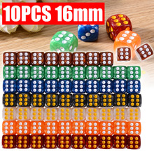 10pcs/pack Colorful Round Corner Pearl Gem Dice 16mm 6 Sided Dice Playing Table Game Entertainment Supplies