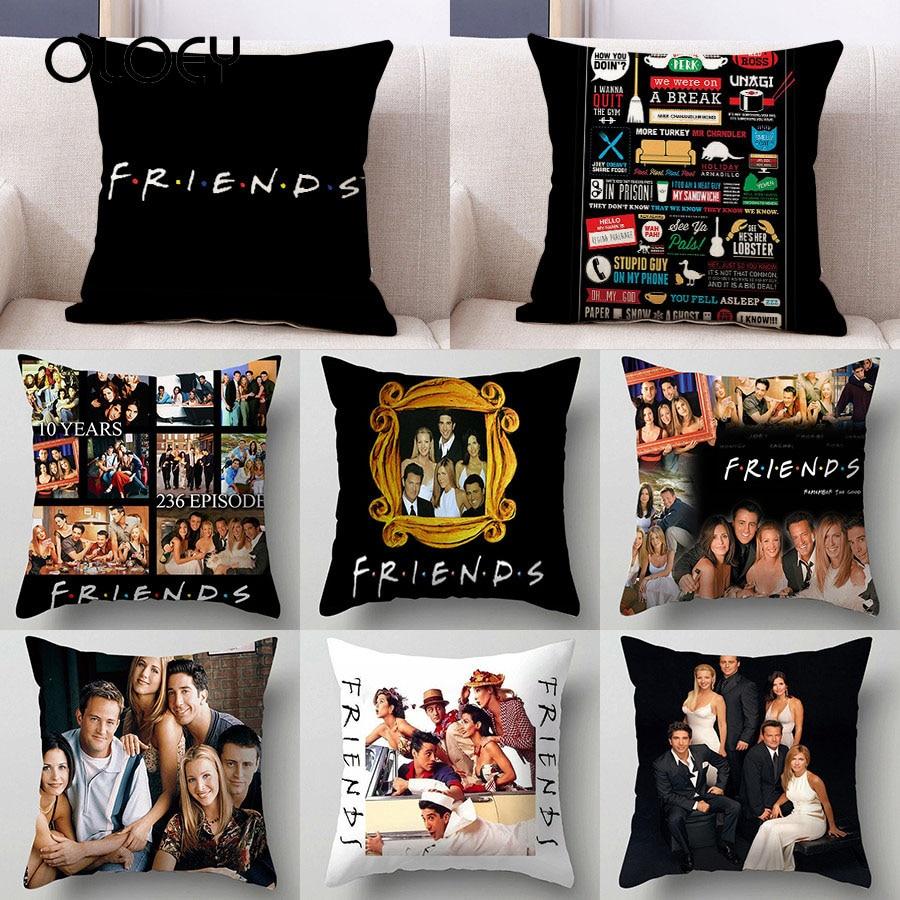 1pcs 45 * 45cm Popular TV Friends Printed Cushion Cover Pillow Car Seat Hotel Bedside Pillowcase Bedroom Decorative Pillowcase