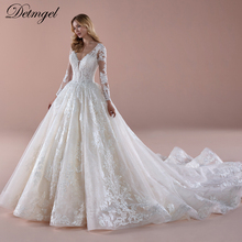 Wedding-Dresses Bridal-Gown Long-Sleeve Princess Luxury Beaded Chapel-Train Appliques