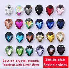 Todos os tamanhos lágrima 24-color pedra de vidro costurar em cristal strass diamantes garra de prata vestuário diy acessórios de costura