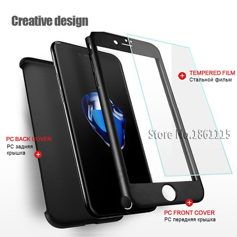 360 Degree Full Cover Phone Shell With Tempered Glass Case For iPhone Models 1