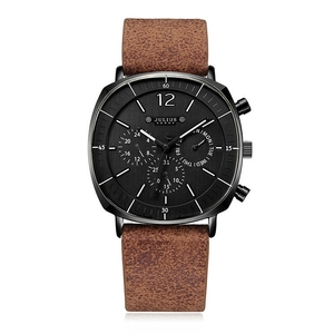 Image 1 - Montre de sport à Quartz suisse pour hommes, bracelet en cuir, étanche, avec horloge en acier inoxydable, nouveau calendrier, mode