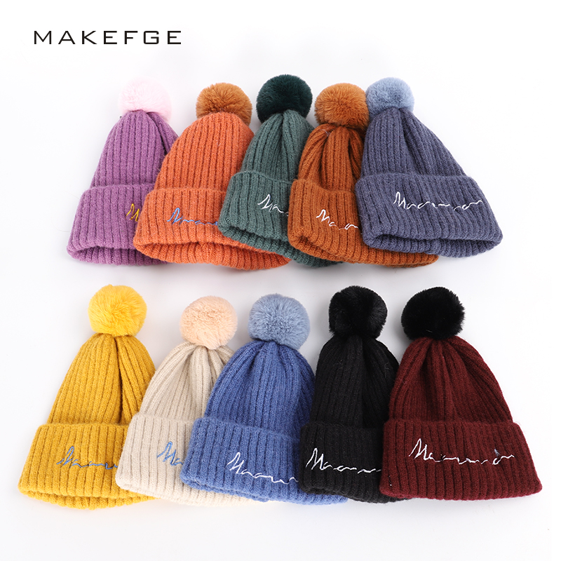 2019 Children's Pompon Winter Hat Solid Color Letter Embroidered Knit Cap Cute Baby Soft Hat Boy Girl Fluffy Fun Hat Mask Peas