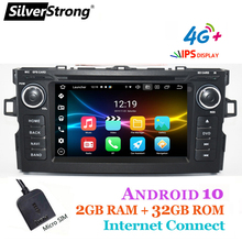 Silverstrong, 4g, carplay, 32gb, android10.0, carro 2din, para toyota, auris hatchback,4g sim modem, carro dvd auris