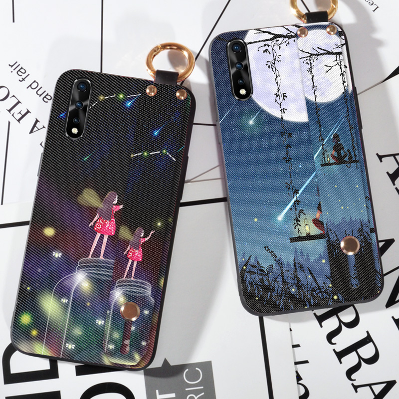 Wrist Lanyard TPU Cases For Vivo IQOO Neo S5 Z5X V17 Pro S1 India Z5 IQOO Pro 5G Pretty Girl Holder Shell Back Cover