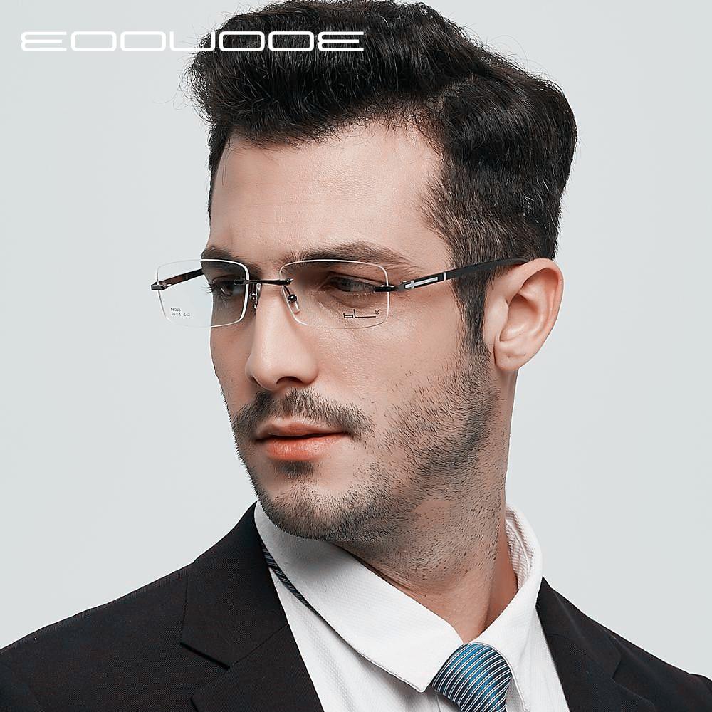 EOOUOOE Men Rimless Glasses Metal TR90 Eyewear Male Clear Glasses Oculos De Grau Myopia Optical Oculos Gafas Opticas Frame