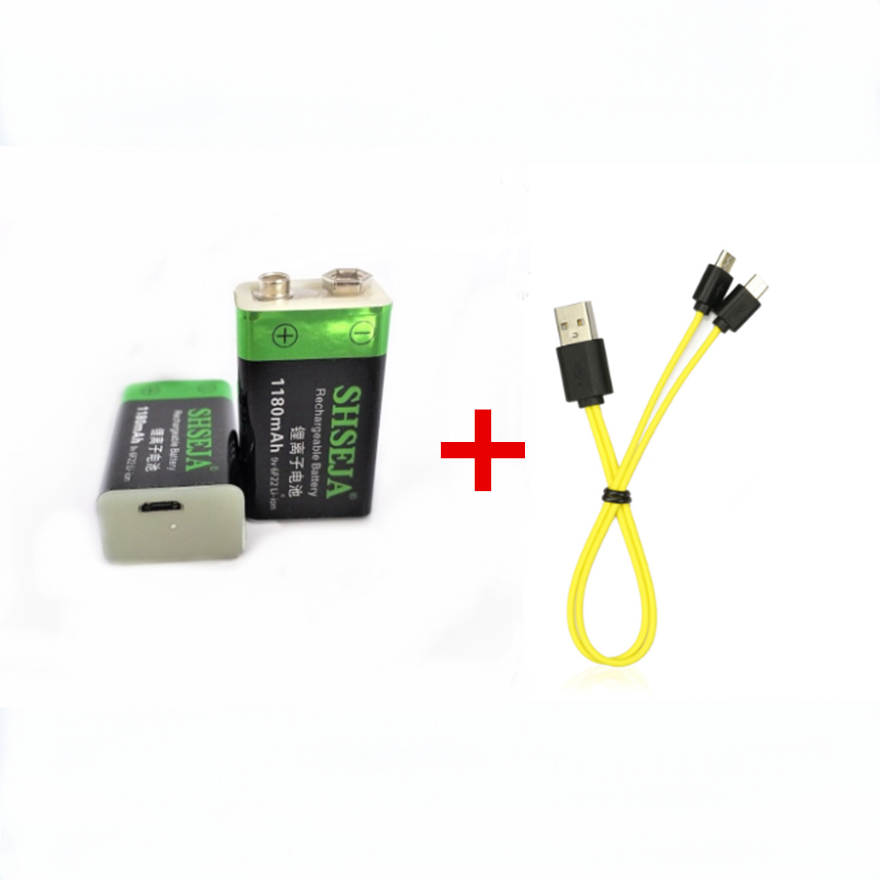 2pcs 1180mAh <font><b>9V</b></font> rechargeable <font><b>battery</b></font> <font><b>USB</b></font> Li-ion <font><b>battery</b></font> instrument toy rechargeable <font><b>battery</b></font> with Micro <font><b>USB</b></font> <font><b>charging</b></font> cable image