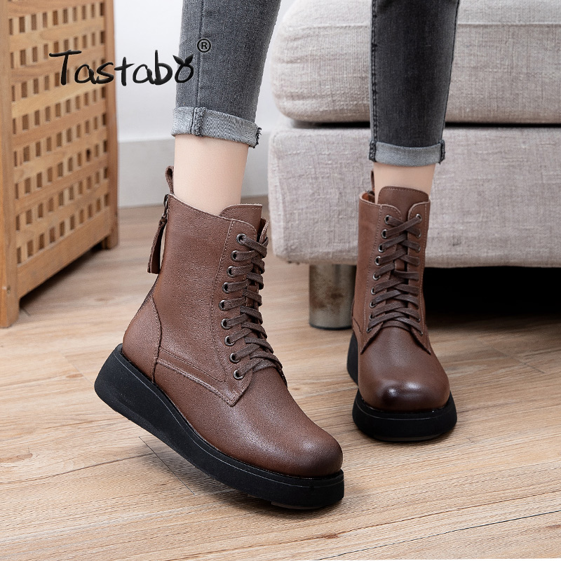 Autumn and winter women's boots fashion thick bottom short boots color matching lace up boots women Martin boots A75508