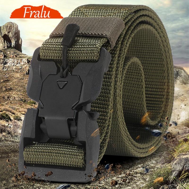 FRALU NEW Military Equipment Combat Tactical Belt For Men US Army Training Nylon Magnetic Buckle Waist Belt Outdoor Hunting Belt
