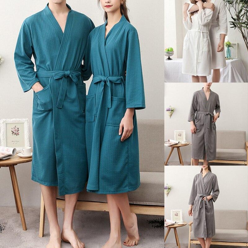 Women/Men Kimono Bathrobe Sleepwear Spa Robe Nightwear Unisex Nightgown QL Sale
