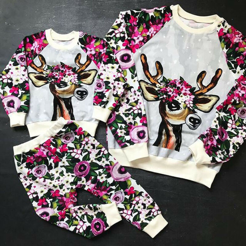 Imcute crianças do bebê meninos meninas roupas natal veados imprimir topos macacão floral calças compridas calças christams conjunto